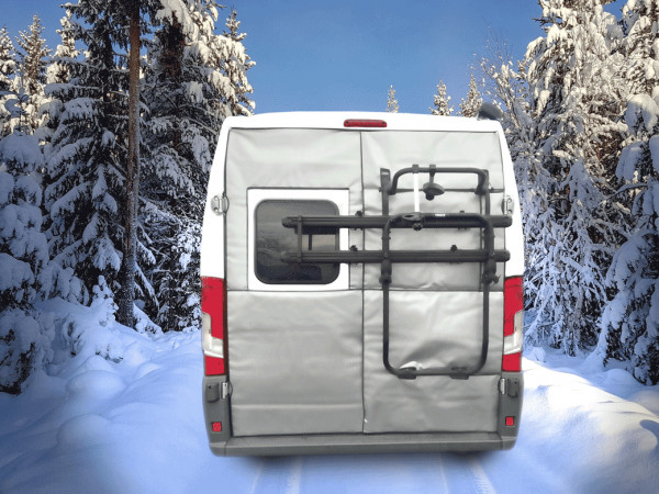 Winter insulation mats for Camper Van rear doors with bike carrier